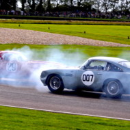 """MR BOND, do you destroy every car you get into?"" 007 demonstrates that despite being incredibly valuable, these cars are raced hard… Goodwood Revival 2013"