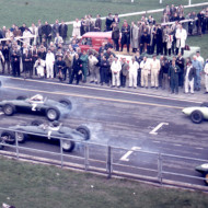 STRANDED. The start of the Aintree 200, 1963. Jim Clark has a flat battery. From last place he drove straight into my heart, finishing third