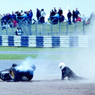 """YOU PICKED A FINE TIME TO LEAVE ME LOOSE WHEEL"" (With apologies to Kenny Rogers). Coy's, Silverstone 2000"